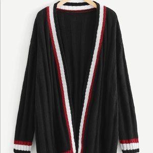 Open Front Striped Longline Cardigan